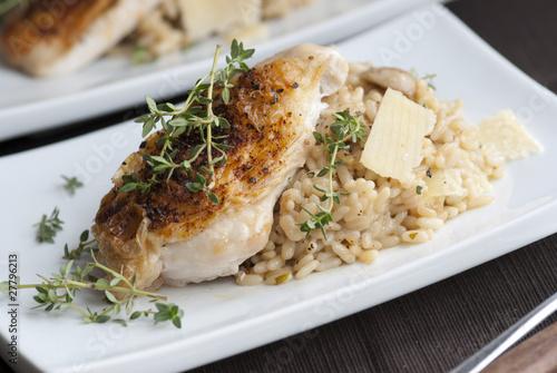 Roast chicken with mushroom risotto