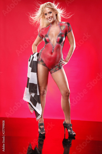 Keuken foto achterwand F1 Full body gorgeous blond in racing body paint and checkered flag