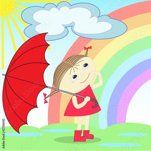 In de dag Regenboog girl under the rainbow