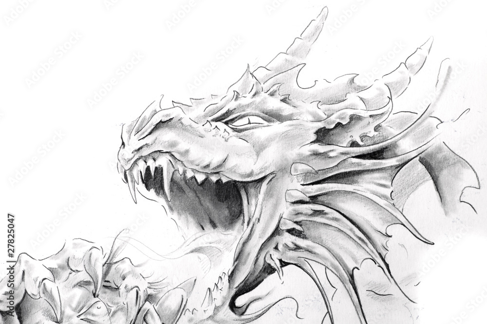 Fototapeta Tattoo art, sketch of a medieval dragon