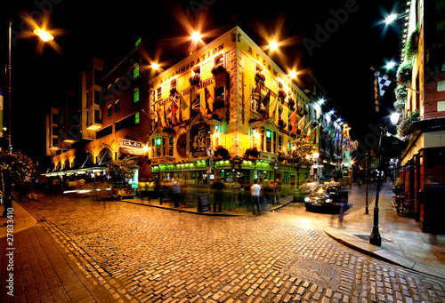 Night view of Temple Bar Street in Dublin, Ireland Wallpaper Mural