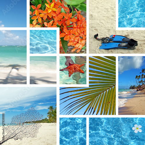 Fotografie, Obraz  Tropical collage. Exotic travel.