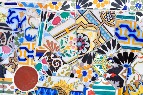 Mosaic detail in Guell park in Barcelona Wallpaper Mural