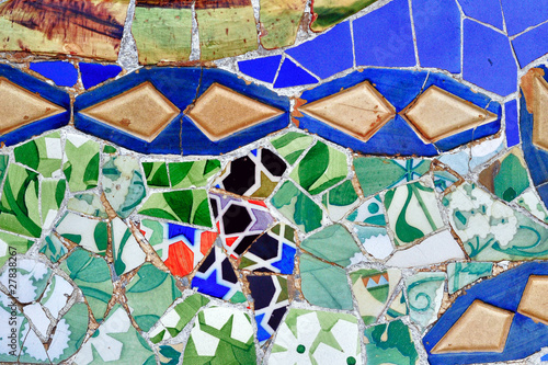 Photo Mosaic of Antoni Gaudi in Guell park in Barcelona, Spain