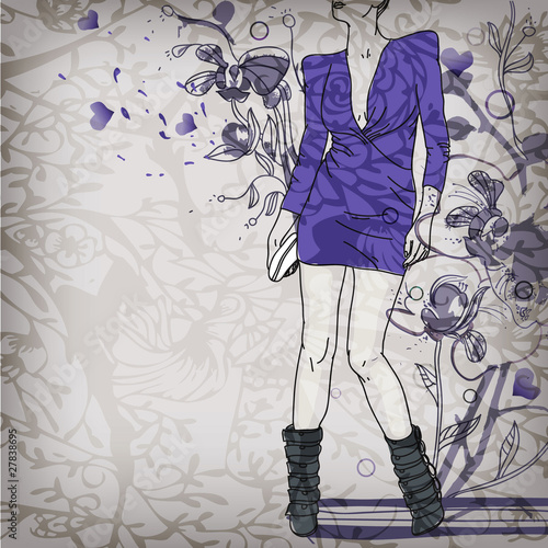 fashion girl on  a floral background
