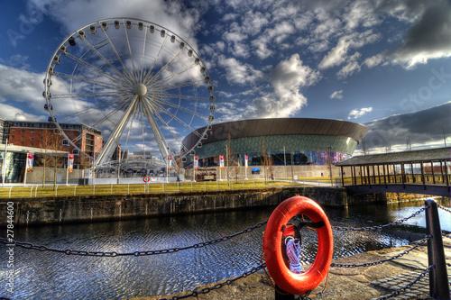 Echo Arena and Wheel, Liverpool, England.