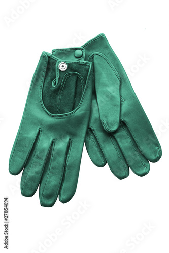 Fotografia, Obraz  Green leather gloves isolated on white