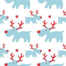 Reindeer Rudolph Seamless Patt...