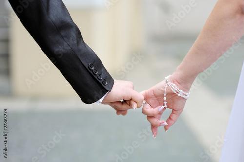 Fotografie, Obraz  Bride and groom walking together