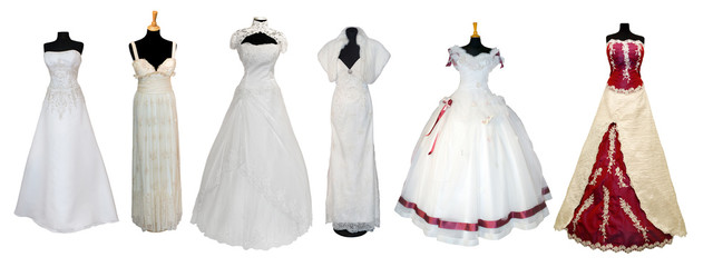 Naklejka Collection of various types of wedding dresses