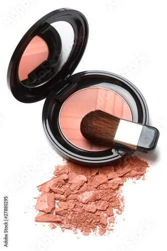 Fotografie, Obraz  Compact powder blush box with mirror and brush isolated on white