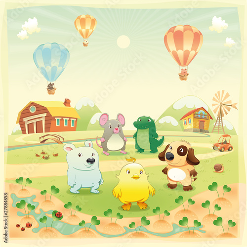 Foto auf Leinwand Hunde Animals in the countryside. Vector isolated objects.