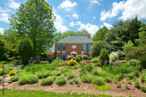 Photo Maryland USA Single Family House  Landscaped Georgian Colonial