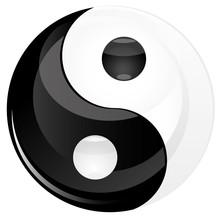 Yin Yan Glitter Sign Isolated On White, Vector Illustration