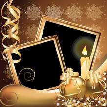 Christmas Golden Frame , Vector Illustration