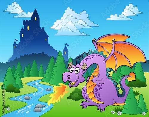 Foto op Aluminium Kasteel Fairy tale image with dragon 1