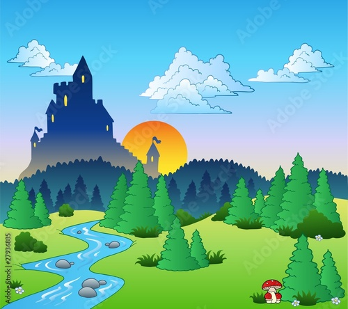 Door stickers Castle Fairy tale landscape 1