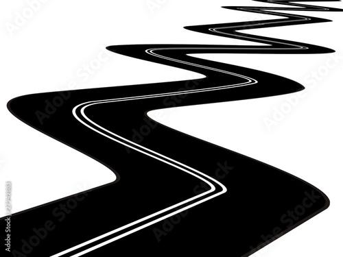 fototapeta na ścianę Black asphalt road on white background