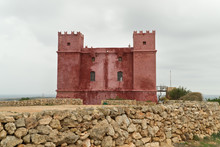 The Red Tower In Malta Called St. Agatha's Tower.