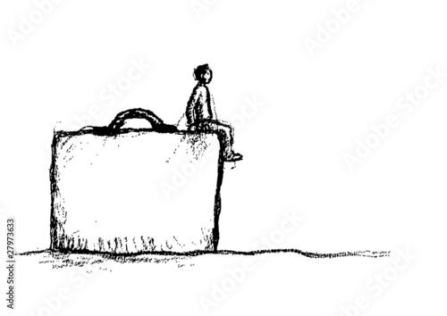 uomo sulla valigia Canvas Print