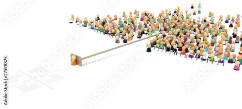Fototapeta Cartoon Crowd, Pushed Out obraz