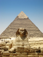 Front on view of The Sphinx and Kafre's Pyramid in Giza.