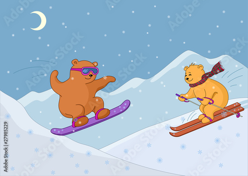 Wall Murals Bears Teddy bears ski in mountains, night
