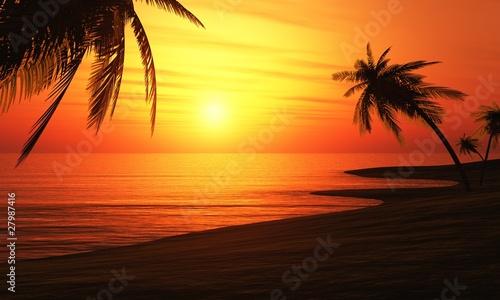 Foto-Leinwand - Ibiza Sunset Chillout Beach 01