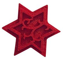 Estrella Decorada De Fieltro Rojo