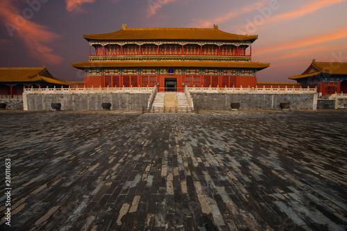 Papiers peints Pékin Sunrise Forbidden City Building Wet Floor