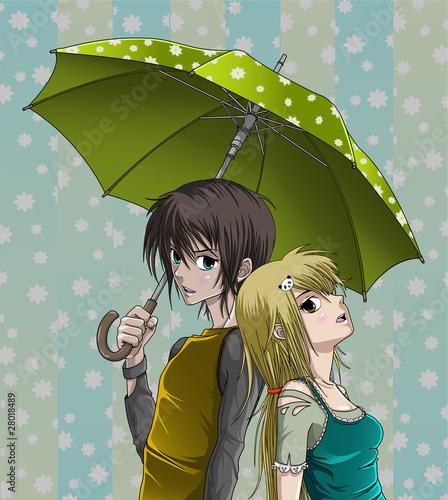 sliczna-chlopiec-i-dziewczyna-z-parasolowym-i-ladnym-tlem