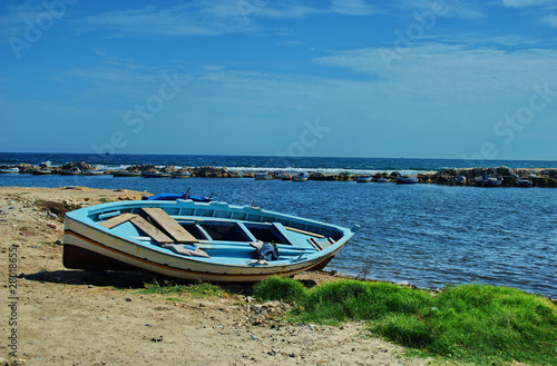 Staande foto Tunesië Boat on coast-Mahdia,Tunisia