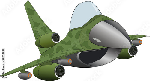 Poster Militaire The modern military jet airplane cartoon