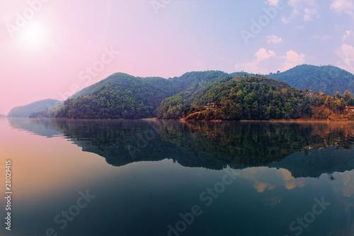 Cadres-photo bureau Népal Beautiful green hills landscape from boat view on Phewa lake, Po