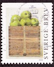 Swedish Sweden Stamp Philip Von Schantz Peck Green Apples Box