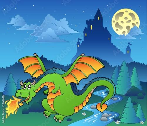Foto op Aluminium Kasteel Fairy tale image with dragon 4