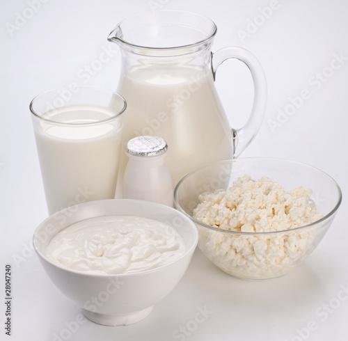 Poster Produit laitier Photo of milk products.