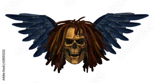 Fotografie, Obraz  Winged Demon Skull with Dreadlocks