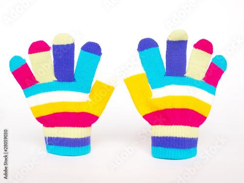 Obraz na plátně  Barevné dětské rukavice na zimu