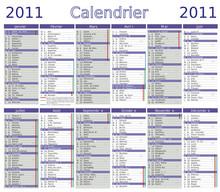 Calendrier 2011 Complet Vecteur