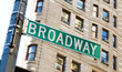 Famous broadway street signs in downtown New York