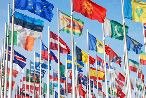 Fotografia, Obraz Flags of the world of many nations and countrys