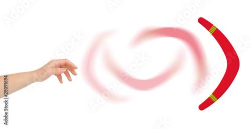 Hand and boomerang Tapéta, Fotótapéta