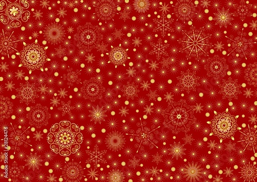 Many gold stars and snowflakes on a claret background - 28124476