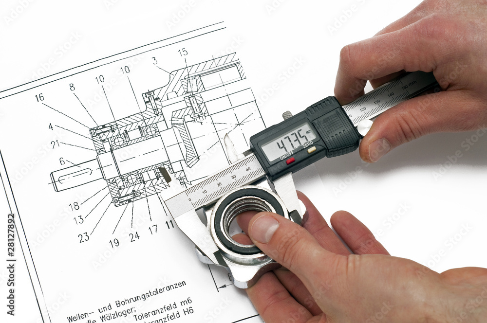 Leinwandbild Motiv - industrieblick : testing method -  sliding calliper