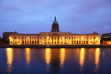 Southern Facade Of Customs House At Night In Dublin..