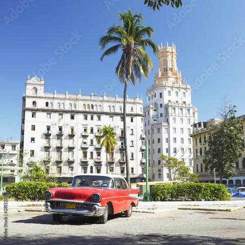 Deurstickers Cubaanse oldtimers antique automobile, Havana, Cuba