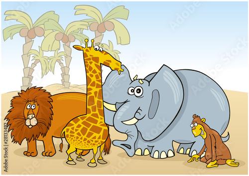 Poster de jardin Zoo group of african animals