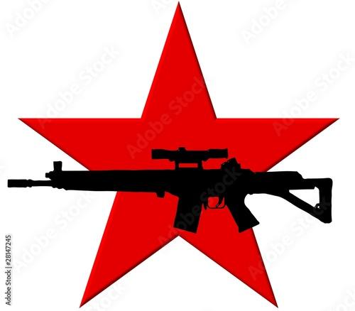 Fotografie, Obraz  Roter Stern mit Maschinengewehr - Ähnlich RAF-Symbol