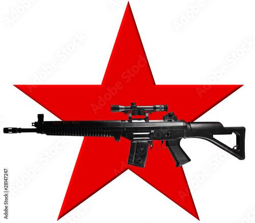 Fototapeta Roter Stern mit Maschinengewehr - Ähnlich RAF-Symbol